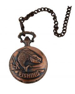 Fishing Carp River Hobby Sport Quartz Pocket Watch Full Hunter Chain Gift Copper