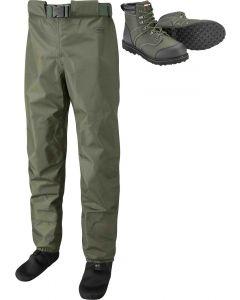Leeda Stocking Foot Breathable Profil Fly Fishing Waist Waders with Wading Boots