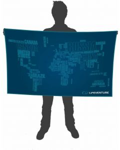 Lifeventure Giant Blue Unisex SoftFibre Advance Trek Towel World Map in Words